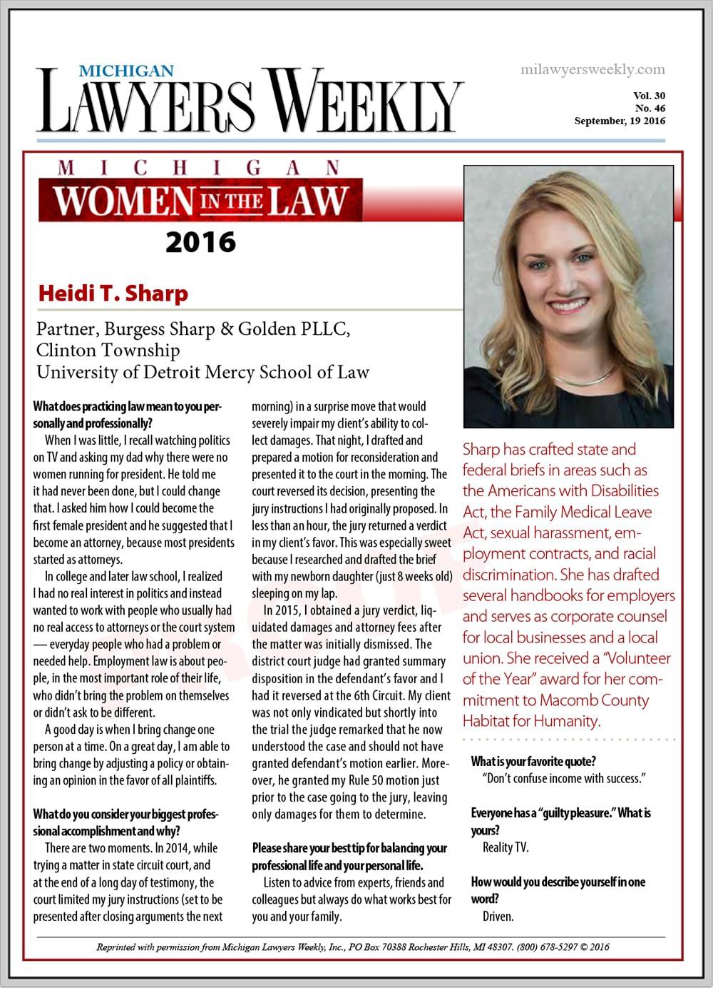 Michigan Women in the Law - Heidi Sharp